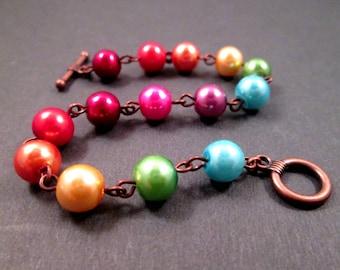 Rainbow Pearl Bracelet, Glass Pearl and Copper Beaded Bracelet, FREE Shipping U.S.