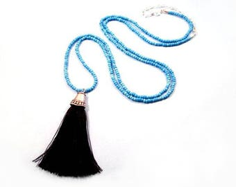 Tassel Necklace, Black Silk Tassel Pendant, Extra Long Blue Glass Beaded Silver Chain Necklace, FREE Shipping U.S.