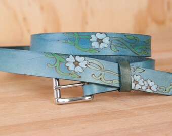 Leather Belt - Handmade Womens Skinny Belt with Flowers - Willow pattern with flowers and vines in blue and white - Belt for Dresses