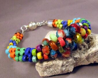 Bracelet by Mona Sullivan - Multi-Colors Seed Bead Bracelet by Monaslampwork - Sterling Silver magnetic clasp, silver end caps