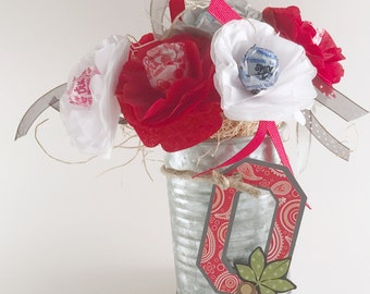 Ohio State Buckeyes tissue paper flowers Pencil Holder