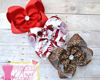 Wild About Santa Set ~ Christmas Hair Bows ~  Twisted Boutique Bows