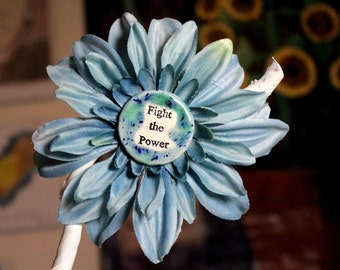 Fight the Power Flower Hair Clip in Blue