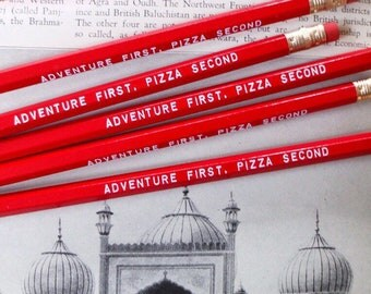Adventures and Pizza Pencil 6 pack, Earmark Pencils, engraved pencils, pizza party, pizza pencils, adventure pencils, party favors