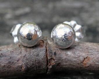 Sterling Silver Stud Earrings ... organic shape 5mm sterling post earrings
