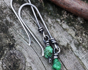 Natural green turquoise nugget sterling silver dangle earrings