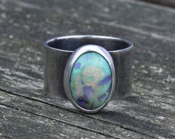 Sterling opal wide band sterling silver ring