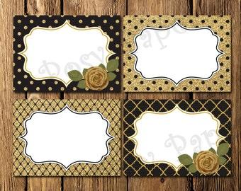 Printable Black and Gold Bridal Shower Food Labels - Instant Download