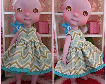 Tiny BJD Cerise Min Chevron Babydoll Dress by Tickled Pink by Julie