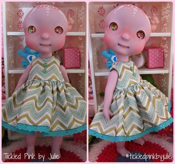 Tiny BJD Cerise Min Chevron Babydoll Dress by Tickled Pink by Julie