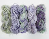 Lavender Fields Handspun Art Yarn Mini Skein Collection Variety Pack 50 yards purple green
