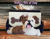 Brindle and White English Bulldog DOG Business Card Holder / Iphone / Cell phone / Post it Notes OOAK sculpture by Sally's Bits of Clay