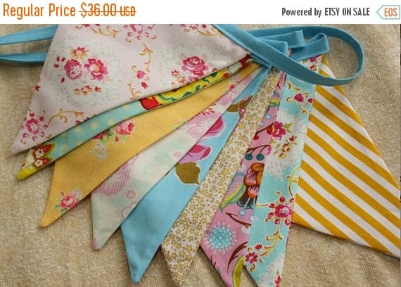 Entire Shop On SALE Shabby Chic Fabric Bunting, Pink, Yellow, Blue Photography Prop, Flags, Designer's Choice.  Also For Weddings and Partie