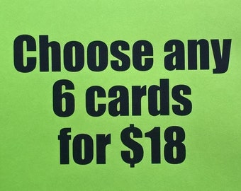 Choose any 6 Cards, Greeting Cards, Card Sets, Blank Cards