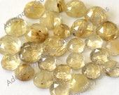 Gemstone Cabochon Quartz Rutilated Gold Golden 6mm Rose Cut FOR ONE
