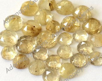 Gemstone Cabochon Quartz Rutilated Gold Golden 8mm Rose Cut FOR ONE