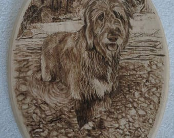 Irish Wolfhound Pet Portrait Wood Burn Solid Maple Plaque Made to Order 8 x 12 inch by Shannon Ivins Pigatopia