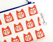 NEW Linen cat fabric purse / pencil case / make up bag by Jane Foster  - Scandi red cats
