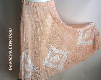 Peachy PINK and SHEER Crochet Skirt / Small Medium Elastic Waist / White Battenberg Lace Inserts / Tea Length Midi 1970s 80s