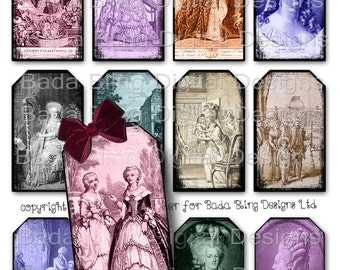 The Life of Marie Antoinette, gift tags, tag collage sheets, INSTANT Digital Download at Checkout, Marie Antoinette, Paris, queen, gift tags