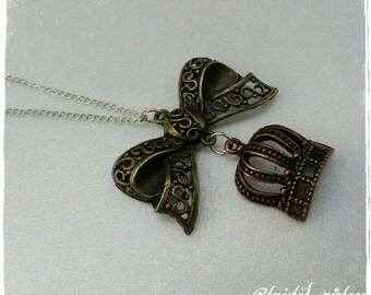 Tricolor Princess Lolita Bow Queen Crown Necklace