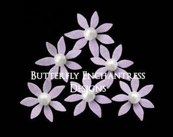 Wedding Hair Flowers, Lavender Purple Bridal Accesories, Bride Hair Pins Hair Piece Headpiece - 12 Lilac Isla Mini Star Flowers - Pearl