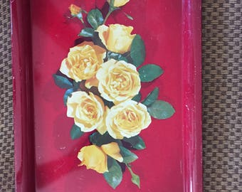 Vintage Red Metal TOLE Tray Shabby Chic Yellow Roses ECS schteam