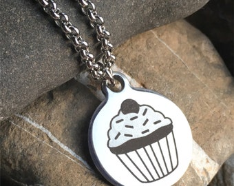 Stainless steel laser cut cupcake necklace baker