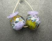 CrazyCatGlass Lampwork Boro Glass Beads Handmade Funky Round Pair