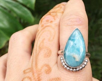Larimar peacock ring // size 9 //one of a kind // made in byron bay // recycled sterling silver