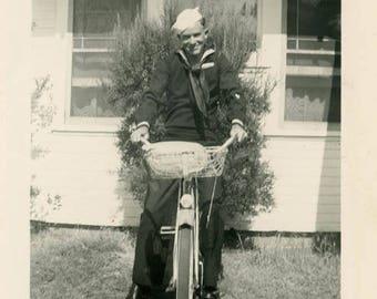 vintage photo 1945 Handsome Sailor Man Rides Balloon tire Bicycle