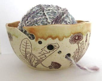 Yarn Bowl - Knitting Organizer - Dandelions - Hand Thrown Ceramic Stoneware Pottery