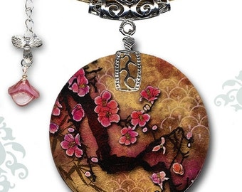 Cherry Blossom Necklace - Reversible Pearlz Glass Art Necklace - Voyageur Collection - Japanese Cherry Blossom Branch