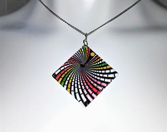 Psychedelic Necklace kaleidoscope Pendant Abstract Art Jewelry Bright Bold Colorful Design Geometric Square Optical Illusion FREE SHIPPING