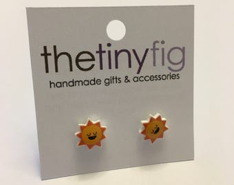 Limited Edition: Sun Earrings - Sterling Silver Posts Studs Kawaii Cute