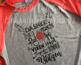 Reindeer Names Baseball Tee (adult)