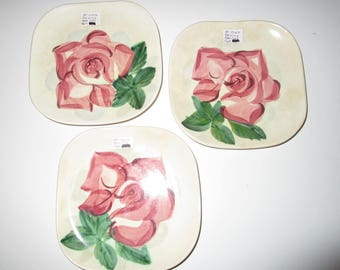 Red Wing Lexington Rose Cake Plates - 6 inches - Set of 3 - Vintage