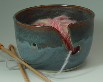 Yarn Bowl in Medium Blue with Gray Green Blue Rim and Caramel Highlights - READY TO SHIP