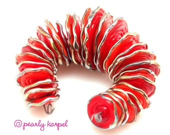 Red and orange disc, disk Lampwork beads SRA set of 28 artisan glass beads,Unique Beads for Crafts, jewelry supplies, DIY nakelace making