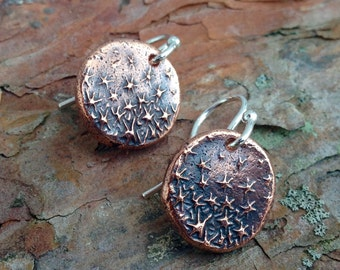 Dancing Stars Earrings, Copper Stars on Sterling Silver ear wires, Rustic Star Jewelry, Galaxy Earrings