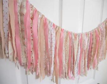 Rag Tie Garland, Rag Fringe, Fabric Garland, Birthday, Nursery, Shower, Tea Party, Shabby Chic Garland Farmhouse Wedding Photo Prop