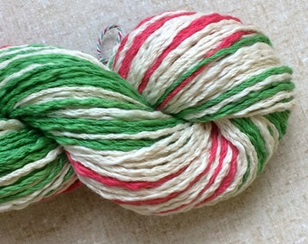 "100% Pima cotton yarn - colorway ""Christmas Stripe"" - aran weight - in stock, ready to ship!"