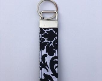 Black and White Damask Key Fob Key Chain