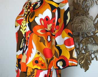 1960s blouse op art blouse DeWeese blouse psychedelic print orange blouse vintage tunic 1960s smock