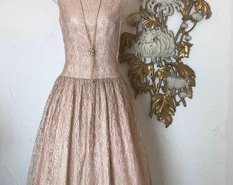 1950s dress lace dress champagne dress party dress size small wedding dress bridesmaid dress formal