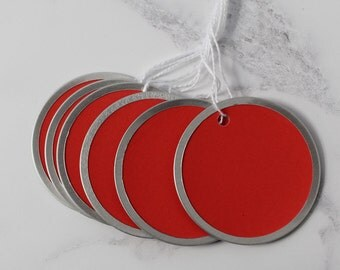 Metal Rim Tags, Red Green Silver Rim Tags, Valentine Day Gift Tags, Craft Stamping Tags, ID Tags, Key Tags, m01, x01
