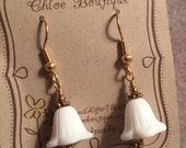 Rustica Bell Flower Dangle Earrings - White German Glass and Gold