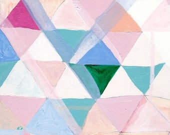 Geometric Abstract Painting - 8x8 - Triangles & Diamonds in Pastel - Reproduction