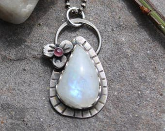 35% OFF - Rainbow Moonstone Tourmaline Sterling Silver Flower Necklace