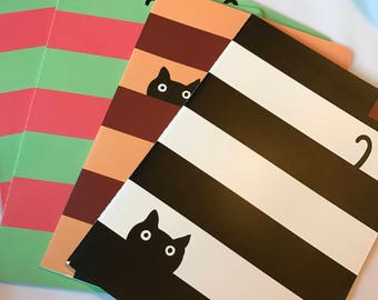 Cat Notebook, 1 Striped Cat Diary, Cat Lover Notepad, Large Size Notebook with Stripes and Cats, Cat Gift, Cat Paper